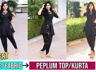 Convert Old Saree.Leftover Fabric Into Peplum Top.Kurta|Part 2
