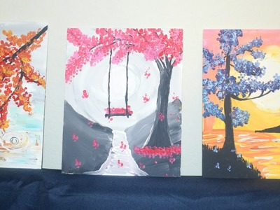 Cotton buds or Q-tip painting(Pinterest Inspired) Landscape.Tree Acrylic Paintings   Cotton swabs