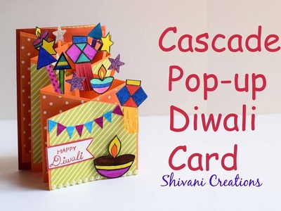 Diwali Popup Card. Cascade Card for Diwali. How to make Easy Diwali Greeting Card