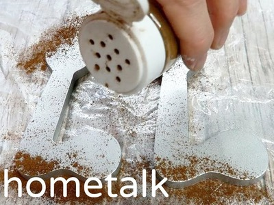 DIY Faux Rust - Sprinkle cinnamon over letters for this dollar store fall decor idea!   Hometalk
