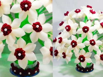 DIY FOAM GULDASTA.NEW DESIGN PLASTIC BOTTLE FLOWER POT.WOOLEN GULDASTA.VASE
