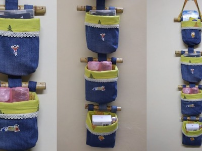 DIY Jeans.Denim Organizer - Old Jeans Reuse Idea