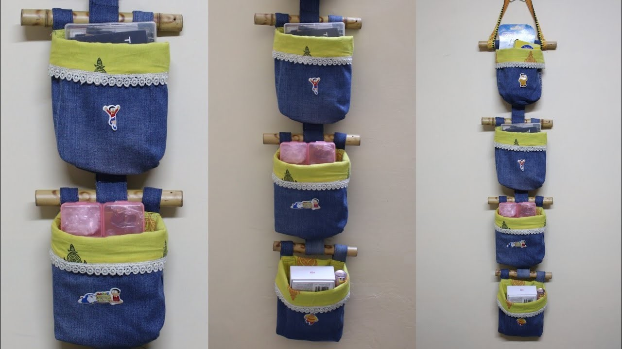 DIY Jeans.Denim Organizer - Old Jeans Reuse Idea