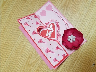 DIY make a Valentine's Day card with paper craft tutorial.