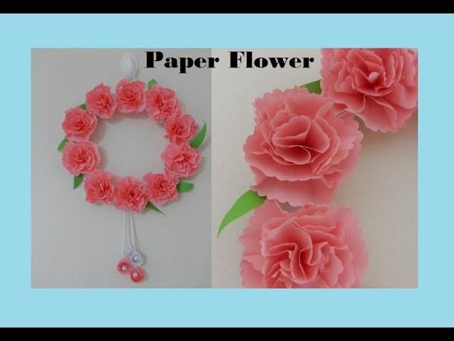 DIY Paper Flower Wall Hanging || Beautiful Door Hanging || DIY Christmas Wreath Tutorial