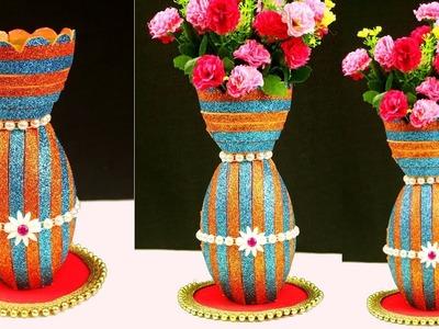 DIY: Plastic Bottle Reuse Flower Vase Craft Idea - Best Out of Waste Plastic Bottle Flower Vase