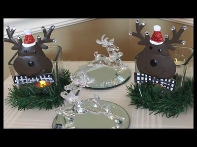 Diy Reindeer Christmas Decor | Candleholders and Mirror trinket