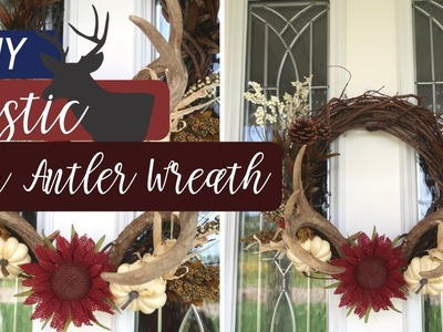 DIY RUSTIC FALL DECOR | DIY DEER ANTLER WREATH | UNDER $10 | BUDGET FRIENDLY RUSTIC DECOR