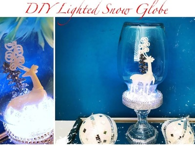 Dollar Tree DIY Winter Decor | LIGHTED Snow Globe Deer Cloche (Collab with Belinda Soto)