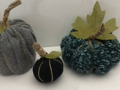 EASY DIY FALL DECOR || NO SEW SWEATER SOCKS PUMPKINS (RECYCLING PROJECT)