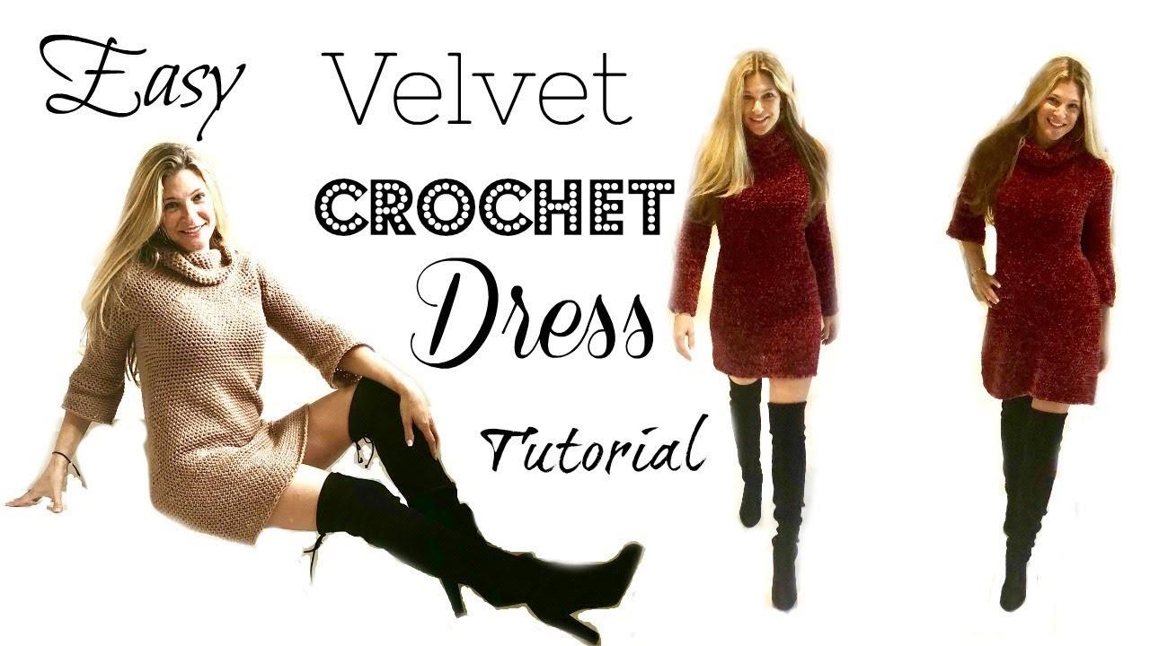 Easy Red Velvet Dress Crochet Tutorial