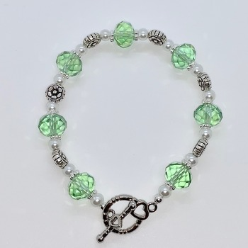 Green Faceted Bead, White Pearl and Antique Silver Flower Bead Bracelet