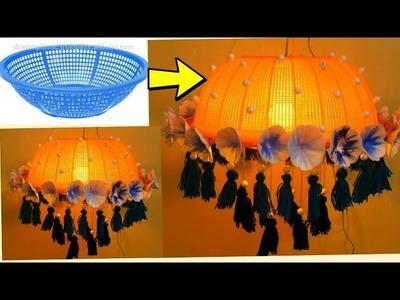 Hanging jhoomer lamp made with waste plastic basket