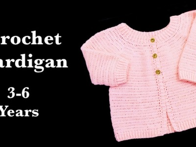 How to crochet easy crochet cardigan sweater for girls or boys by Crochet for baby #150