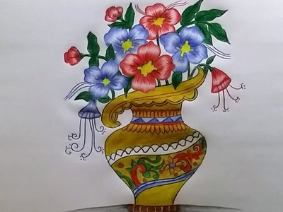 How to draw Flower Vase with drawing technique step by step