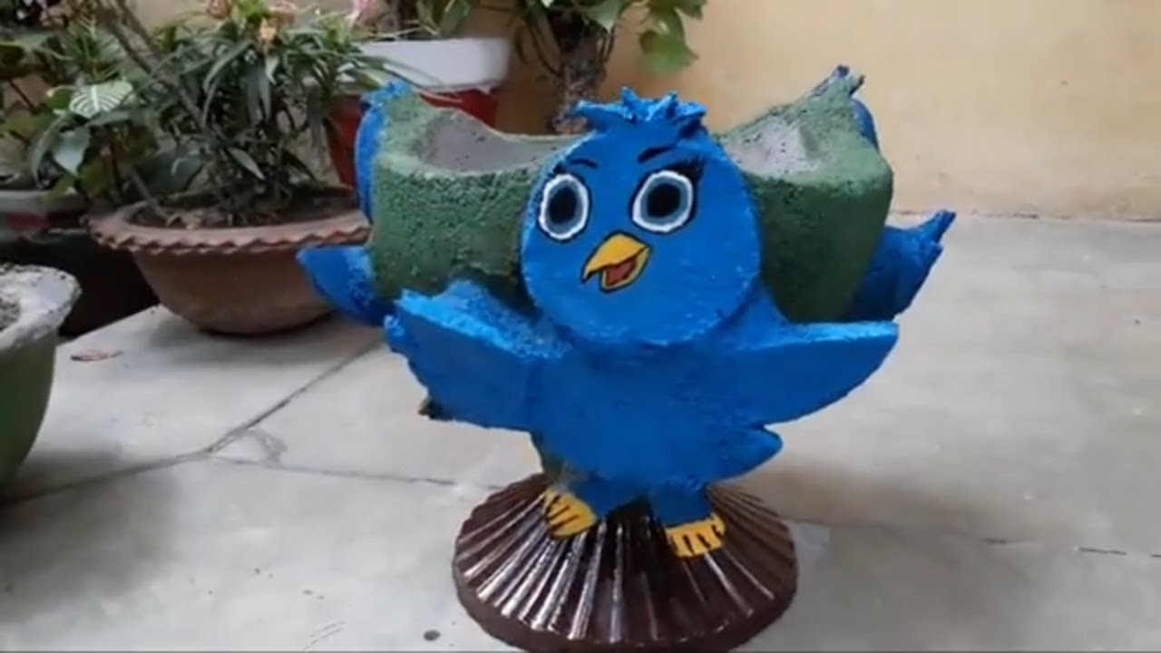 How to make beautiful cement pot in bird shape at home.