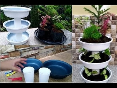 How to Recycle Old Basins and Cups Into Decorative Mini Garden