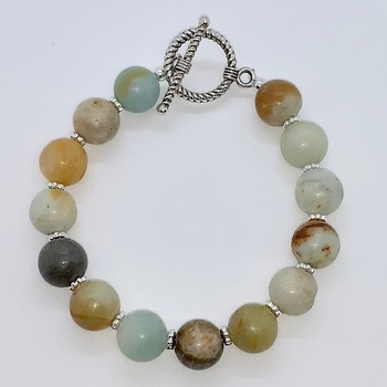 Large Multi-Color Stone Bead Bracelet