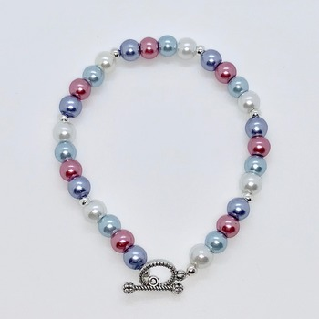 Lavender Pearl, Pink Pearl, Blue Pearl and White Pearl Bracelet