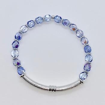 Light Blue Czech Bead and Silver Bead Bracelet
