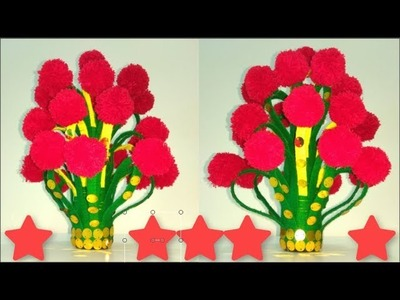 Make X-Ray And Woolen Flower Pot || Woolen Craft,How To Make Yarn Flowers || Vase Of Plastic Bottle