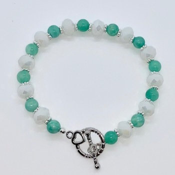 Mint Green Bead and White Faceted Bead Bracelet
