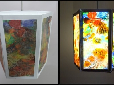 Paper Crafts | Diwali decoration ideas | DIY Beautiful Hexagonal Multicoloured Crayon Lantern