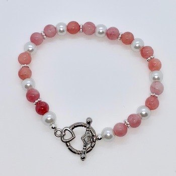 Pink Coral and White Pearl Bracelet