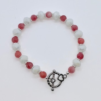Pink Coral Bead and White Faceted Bead Bracelet