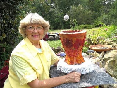 Portland Cement Fall Leaf Flower Pot in Ga.U.S.A.