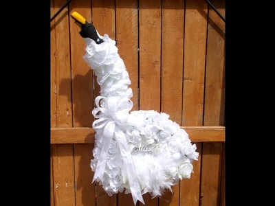Swan Decoration With Dollar Tree Items A Very Pretty White Majestic Swan For Hanging Or Display