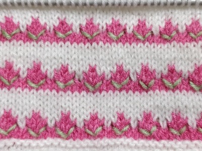 Tricolor Beautiful Rosebud Knitted Pattern for Kids. Simple, Quick n Easy
