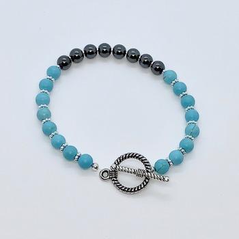 Turquoise Bead and Hematite Bead Bracelet