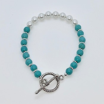 Turquoise Bead and White Pearl Bracelet