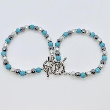 Turquoise Bead, Hematite Bead and White Pearl Bracelet