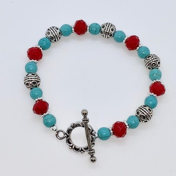 Turquoise Bead, Red Faceted Bead and Antique Silver Scroll Bead Bracelet