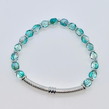 Turquoise Czech Bead and Silver Bead Bracelet