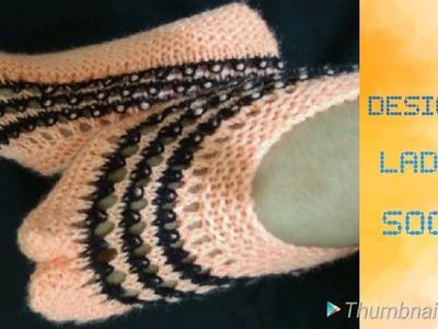 TWO COLOUR KNITTING DESIGNER LADIES SOCKS  L:  28 (HINDI) Jasbir Creations