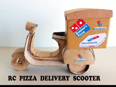 WOW! Amazing rc pizza delivery scooter || amazing rc motorbike || DIY at home with cardboard
