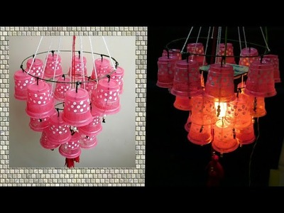 Wow!!! Plastic cup Jhoomer. Chandelier making at home