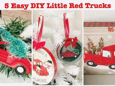 5 DIY Little Red Truck Holiday Decorations |Dollar Tree DIY (QUICK & EASY) Part 1