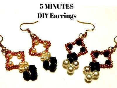 5 minutes diy earrings.  Earrings tutorial.  DIY beaded earrings