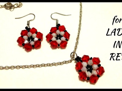 Be lady in red and make your own jewelry. Beaded earrings. Beaded pendant.