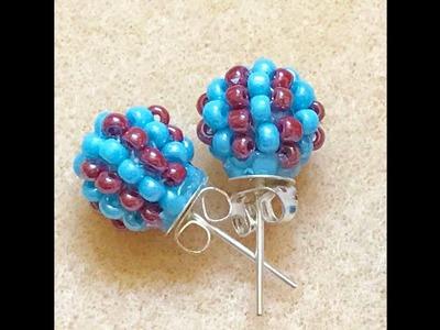 Beaded Ball Stud Earring.Beaded Bead Earring DIY