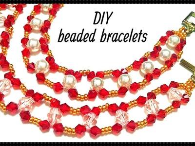 Bracelet tutorial.  Beaded bracelets. DIY bracelets with bicone, seed beads or pearls