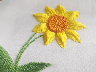 Butterfly Stitch Sunflower (Hand Embroidery Work)