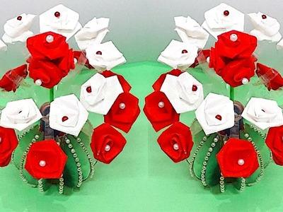 Carry bag flower Guldasta.flower vase from plastic bottle & old CD |Best out of waste|DIY Flower pot