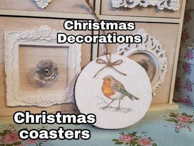 Christmas Crafts 2018- Wooden Robin Tree Decorations - Coasters