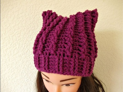 Crochet beanie hat adults with ears or basic beanie hat tutorial - Designed by Happy Crochet Club