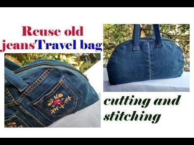 Cutting and stitching 5 मिनट पुरानीं JEANS से बनाय mini travel bag.shopping bag